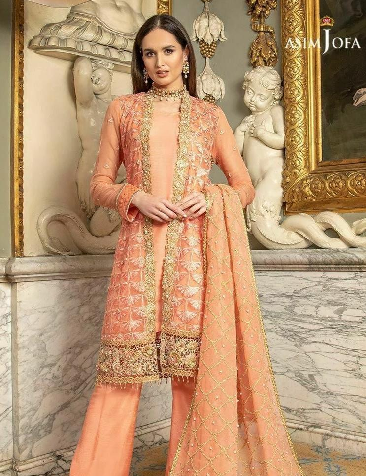 Asim Jofa 246-Heavy Embroided 3pc linen dress with embroided chiffon dupatta. - gracestore.pk