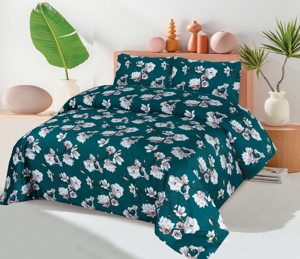 Grace D307-Reactive cotton Satin Quality king size Bedsheet with 2 pillow covers.