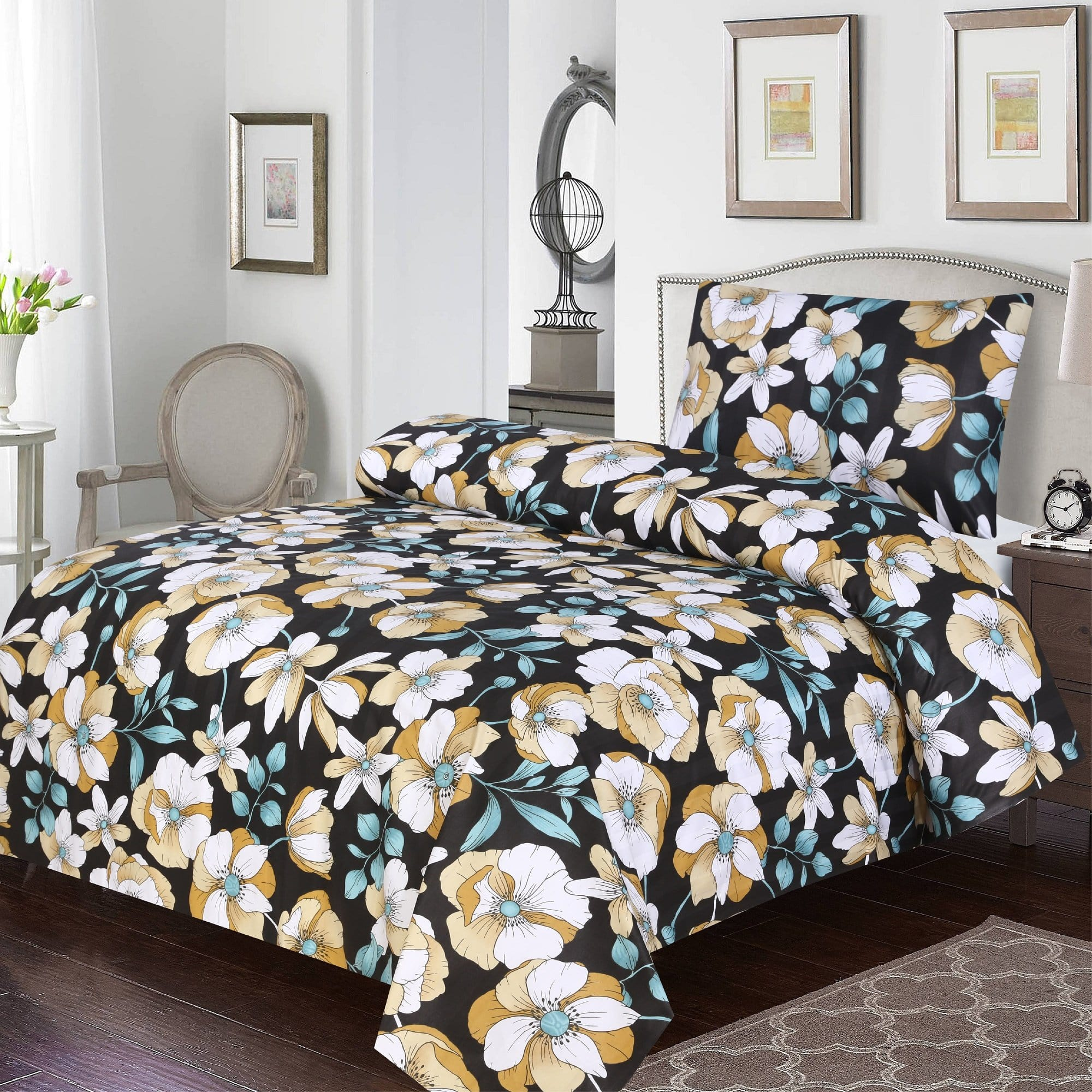 Grace D385-Cotton PC Single Size Bedsheet with 1 Pillow Cover.