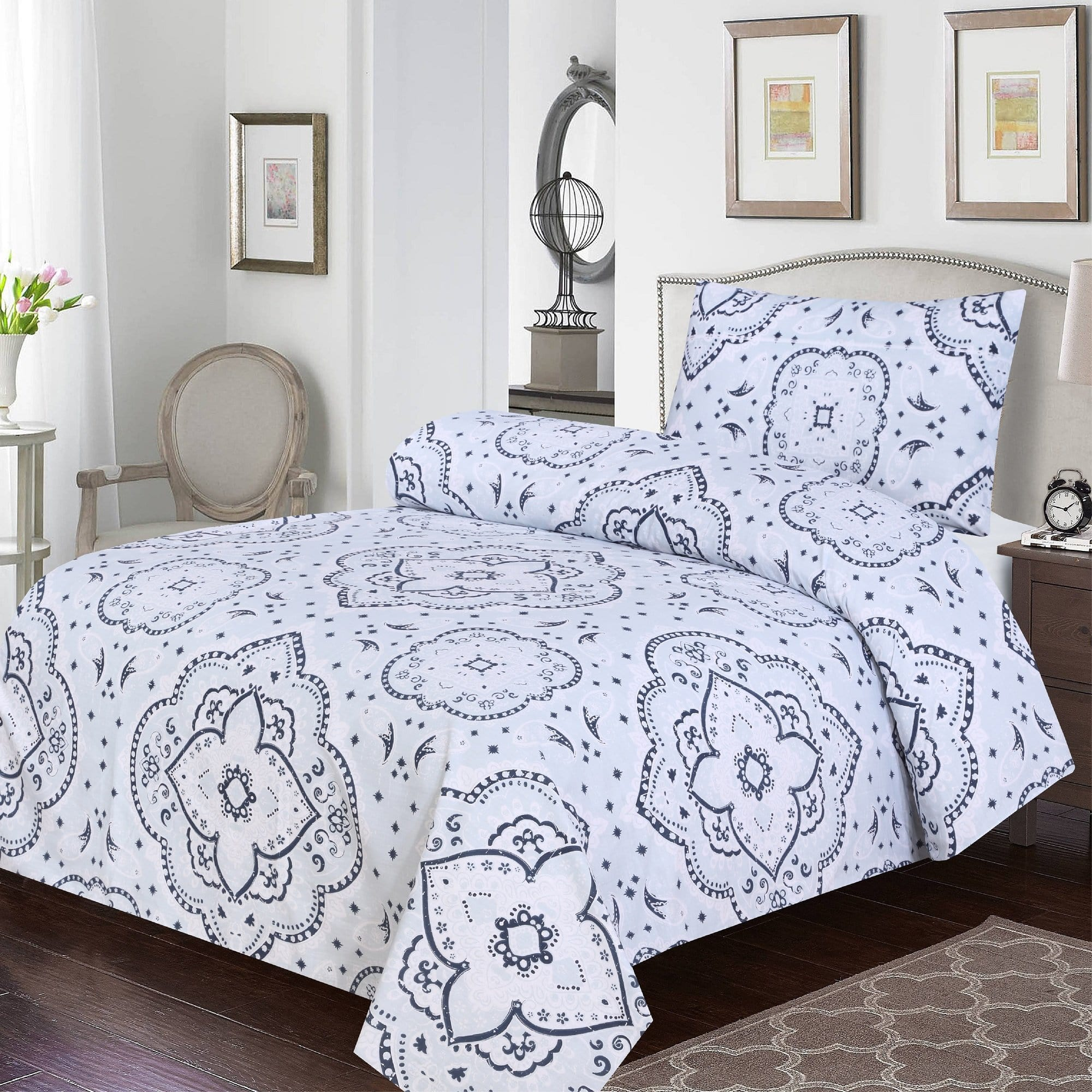 Grace D388-Cotton PC Single Size Bedsheet with 1 Pillow Cover.
