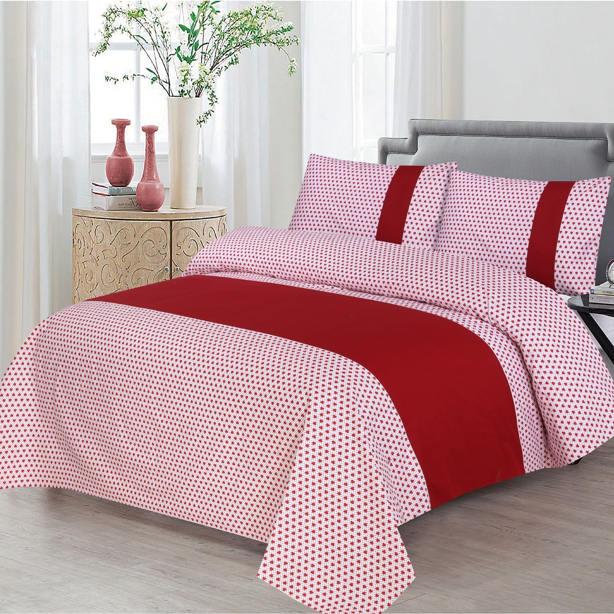 Grace D399-Cotton duck king size  (Patch work) Bedsheet with 2 pillow covers.