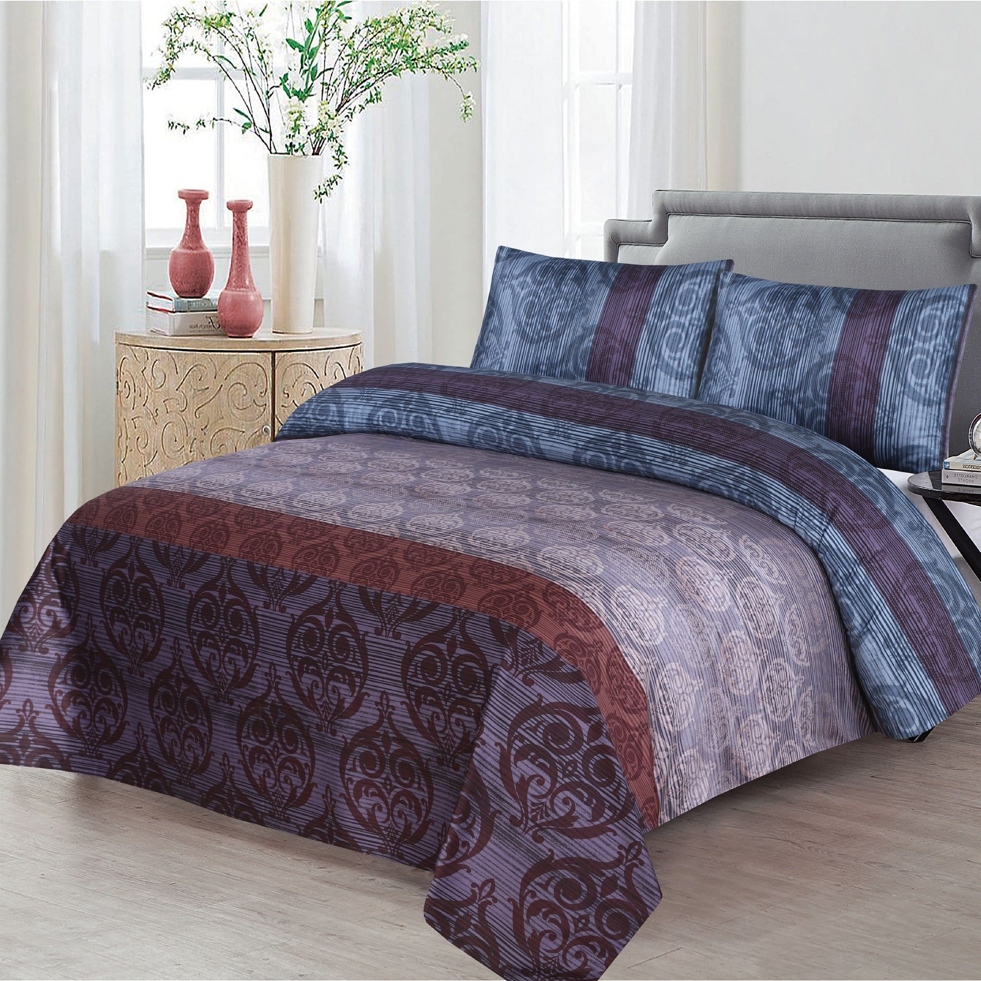 Grace D395-Reactive cotton Satin Quality king size Bedsheet with 2 pillow covers.