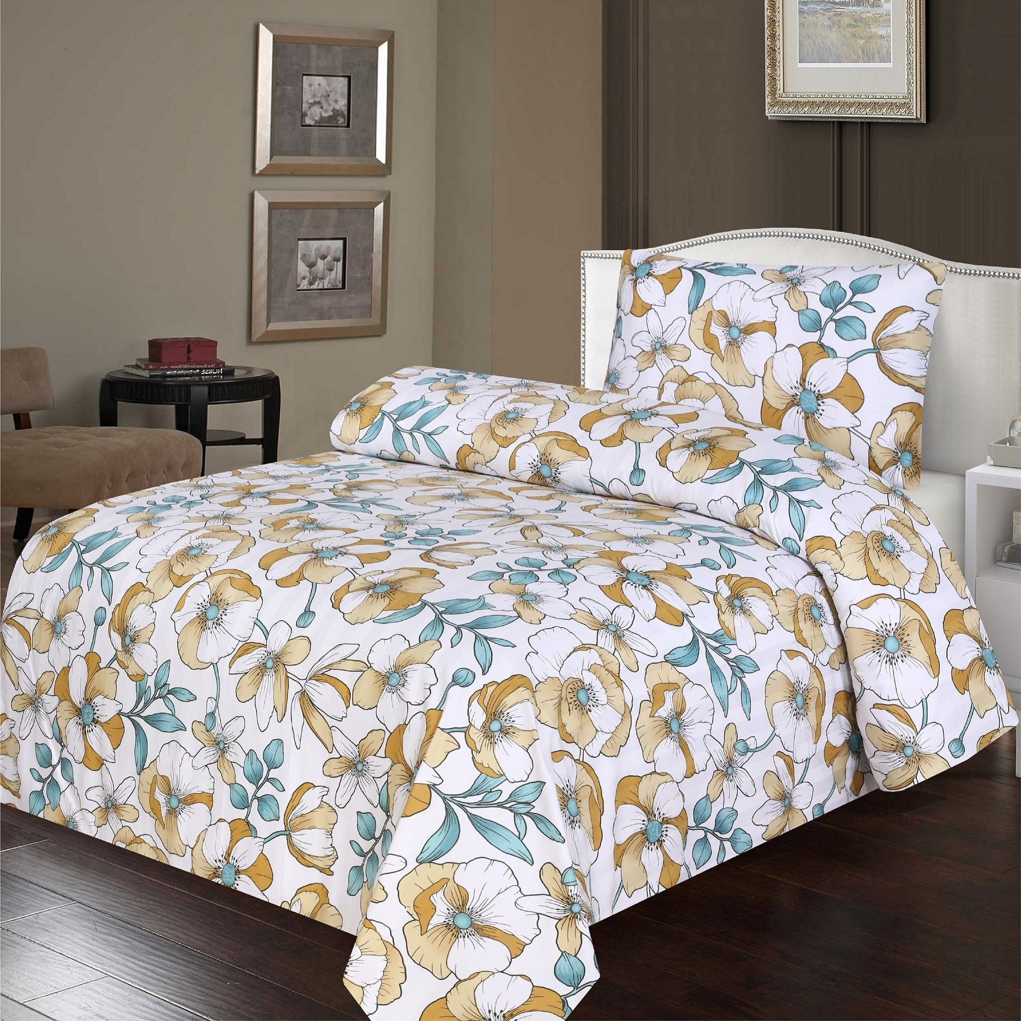 Grace D396-Reactive cotton Satin Quality single size Bedsheet with 1 pillow cover.