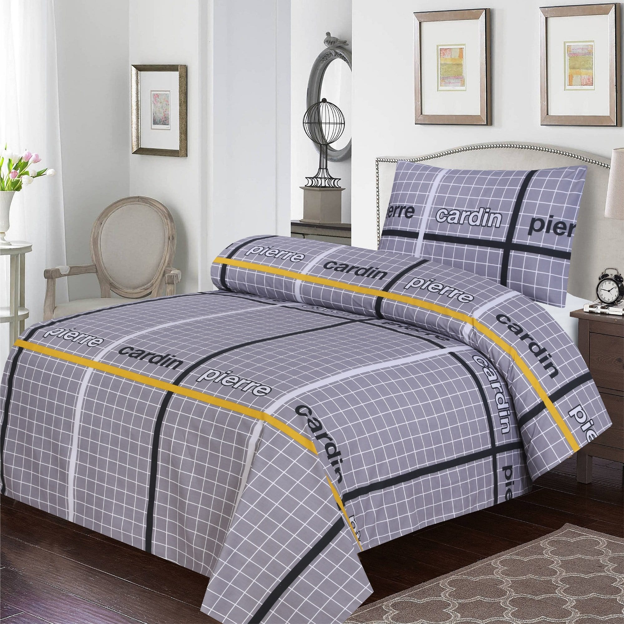 Grace D391-Cotton PC Single Size Bedsheet with 1 Pillow Cover.