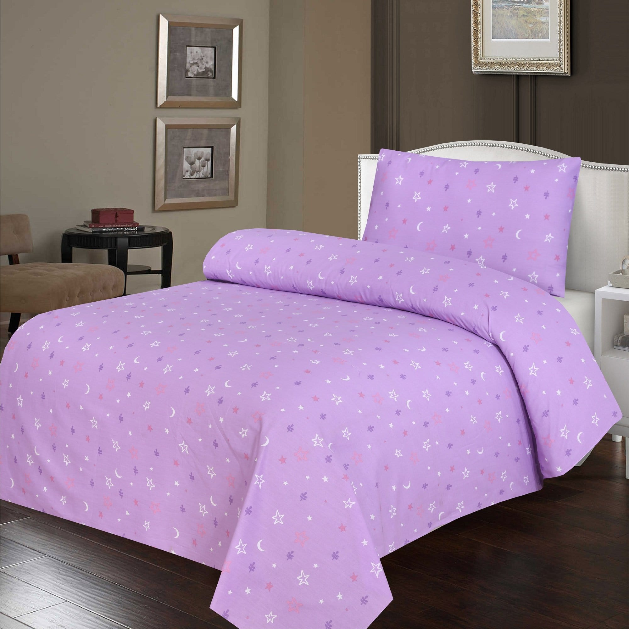 Grace D390-Cotton PC Single Size Bedsheet with 1 Pillow Cover.