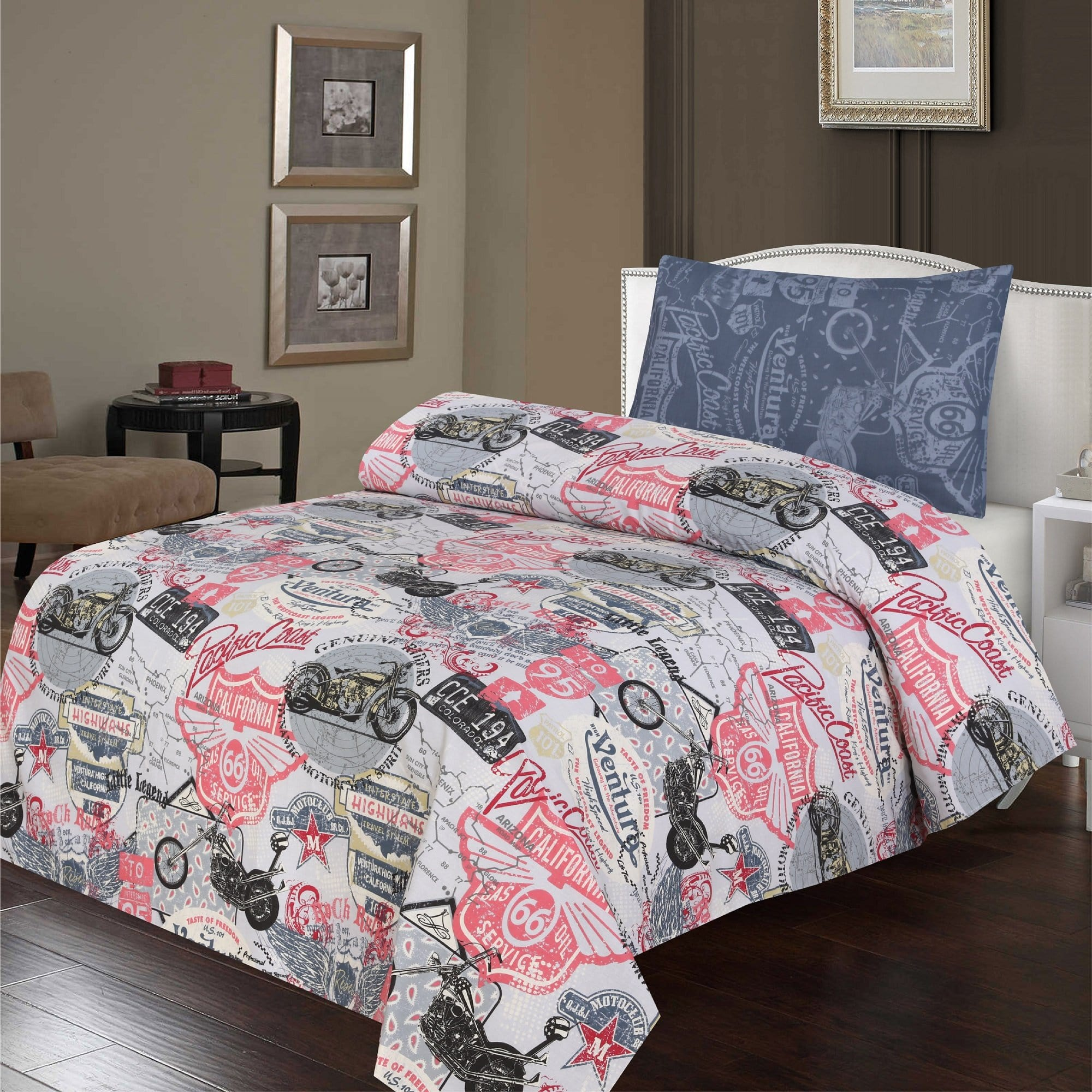 Grace D393-Cotton PC Single Size Bedsheet with 1 Pillow Cover.