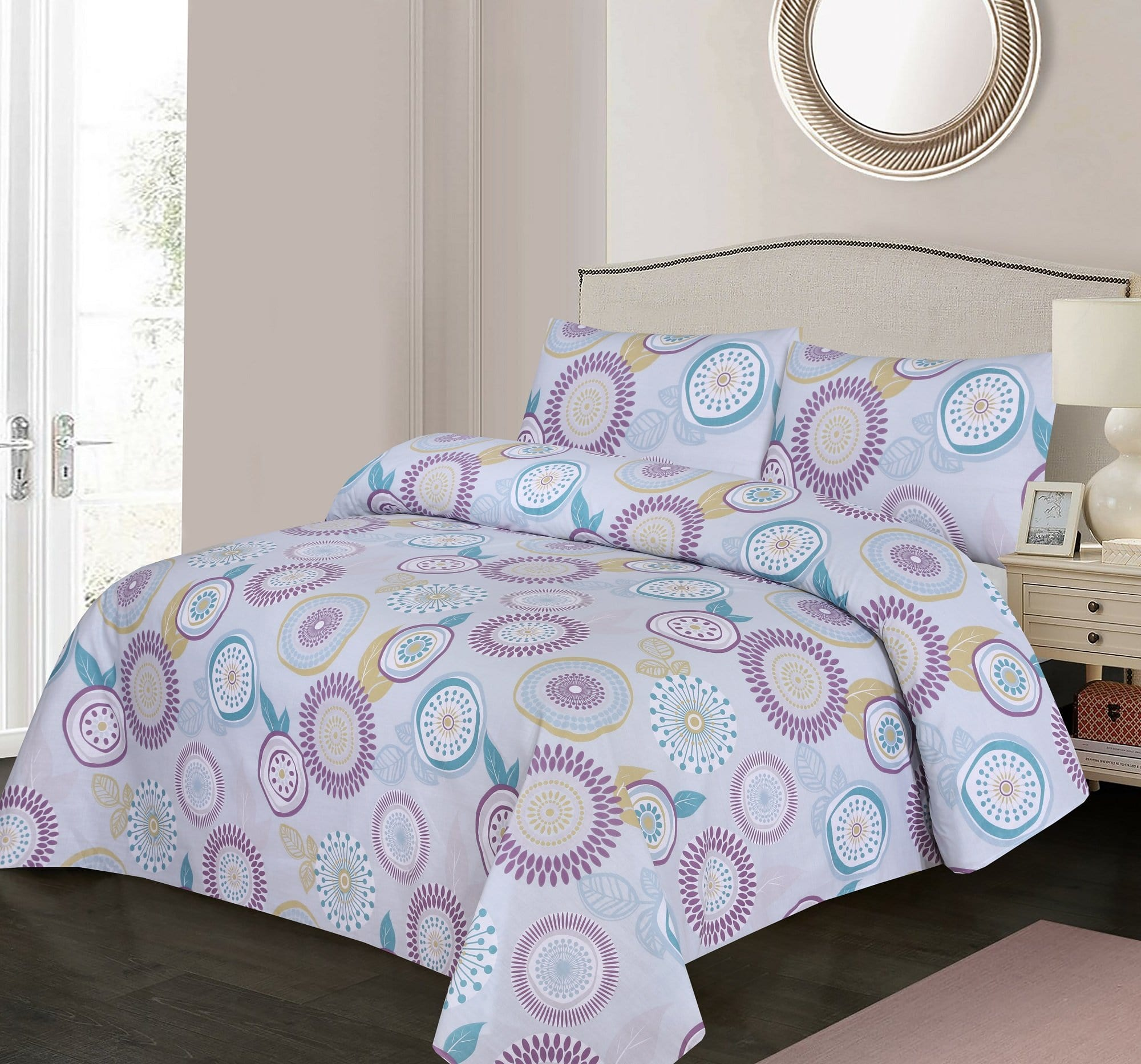 Grace D404-Cotton PC King Size Bedsheet with 2 Pillow Covers.