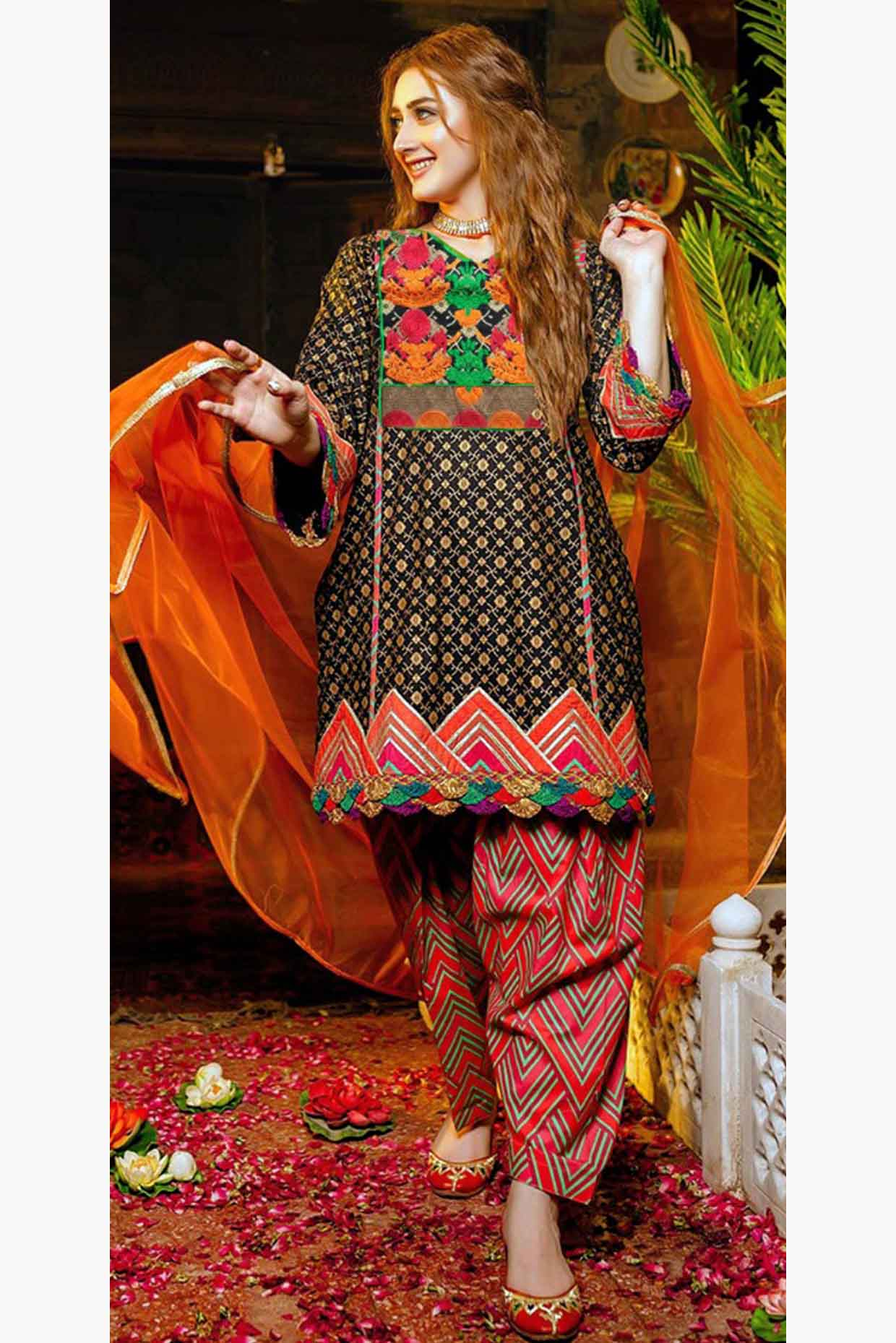 Zara Ahmad 18488-Embroided 3pc lawn dress with printed chiffon dupatta. - gracestore.pk