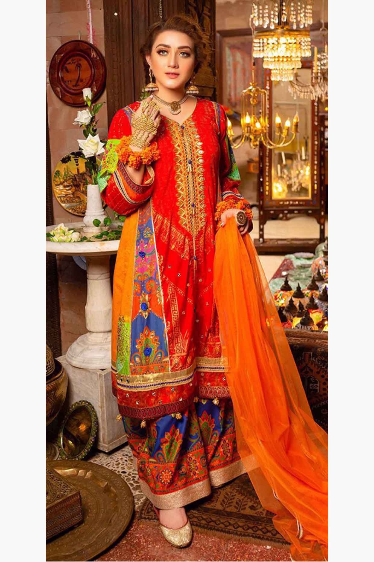 Zara Ahmad 18237-Embroided 3pc lawn dress with printed chiffon dupatta. - gracestore.pk