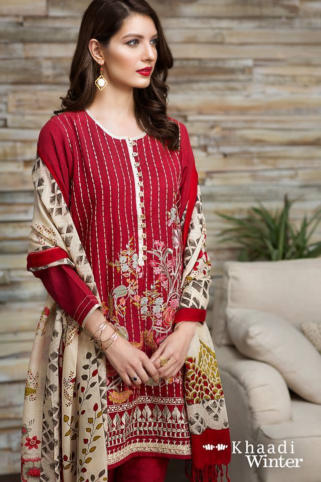 Khaadi Red-Embroided 3pc khaddar dress with wool shawl. - gracestore.pk