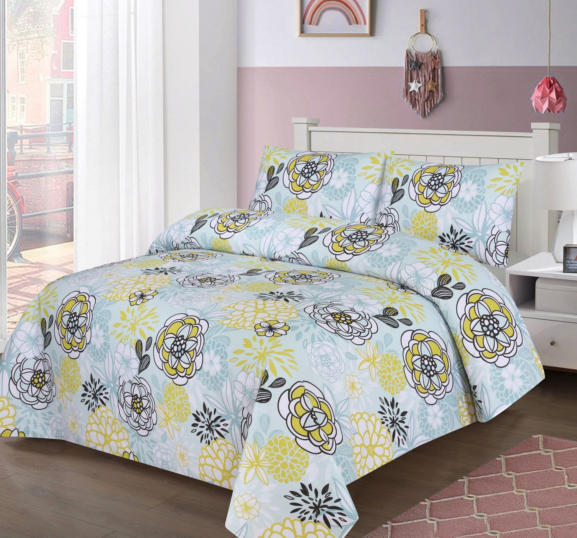 Grace D408-Cotton PC King Size Bedsheet with 2 Pillow Covers.