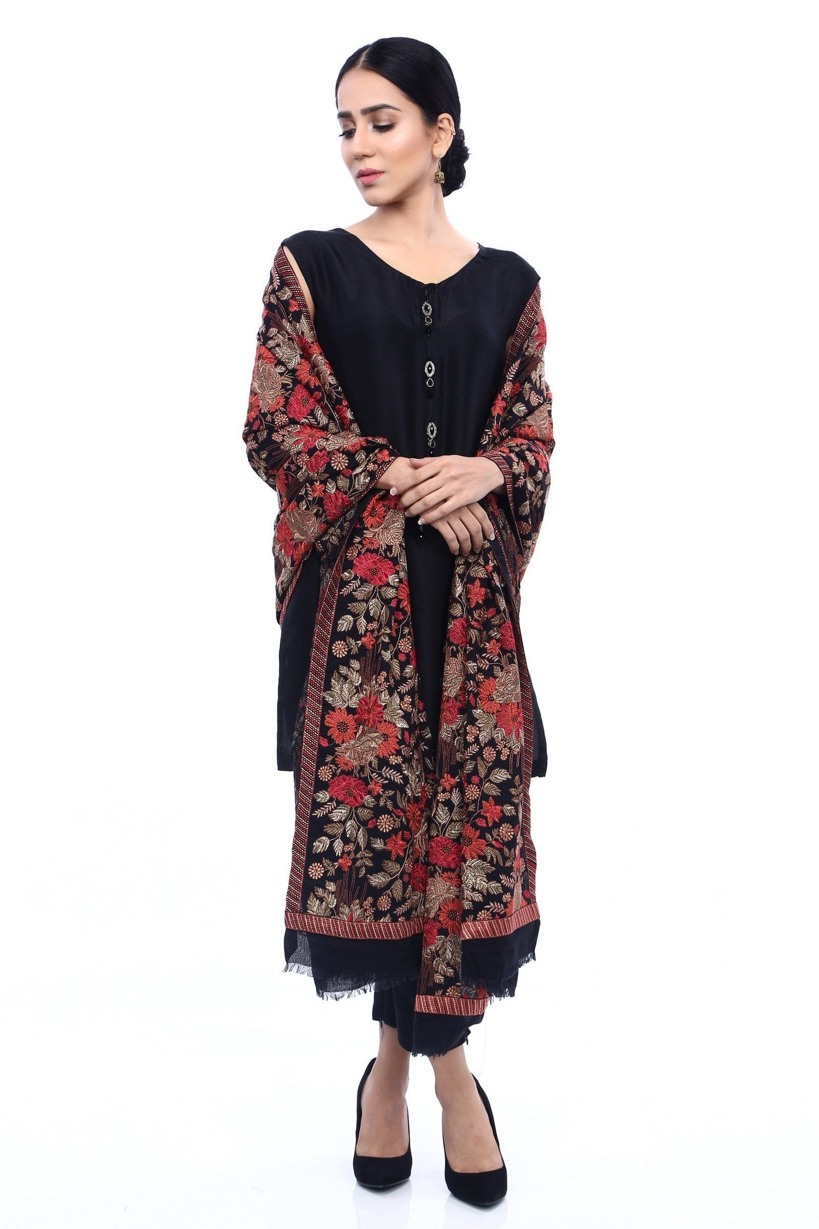 Grace 11 - Formal Heavy Embroidered Karandi Lawn shawl - gracestore.pk