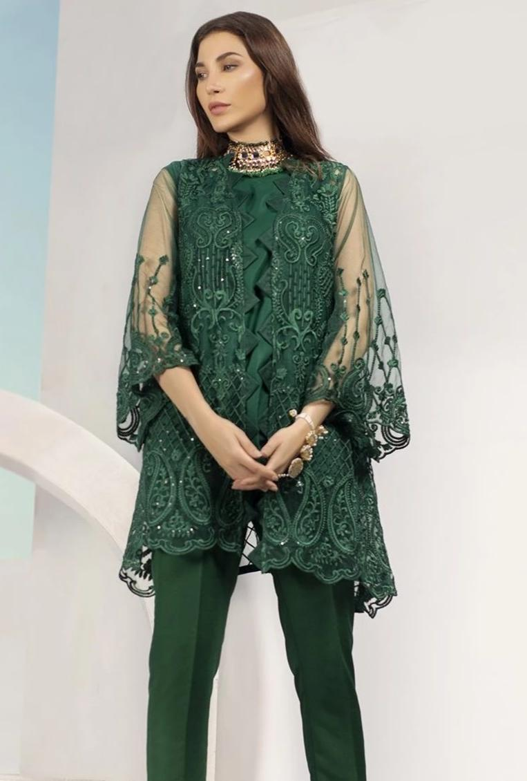 Sarinnah 238-Embroided Net 2pc linen dress shirt & trouser.