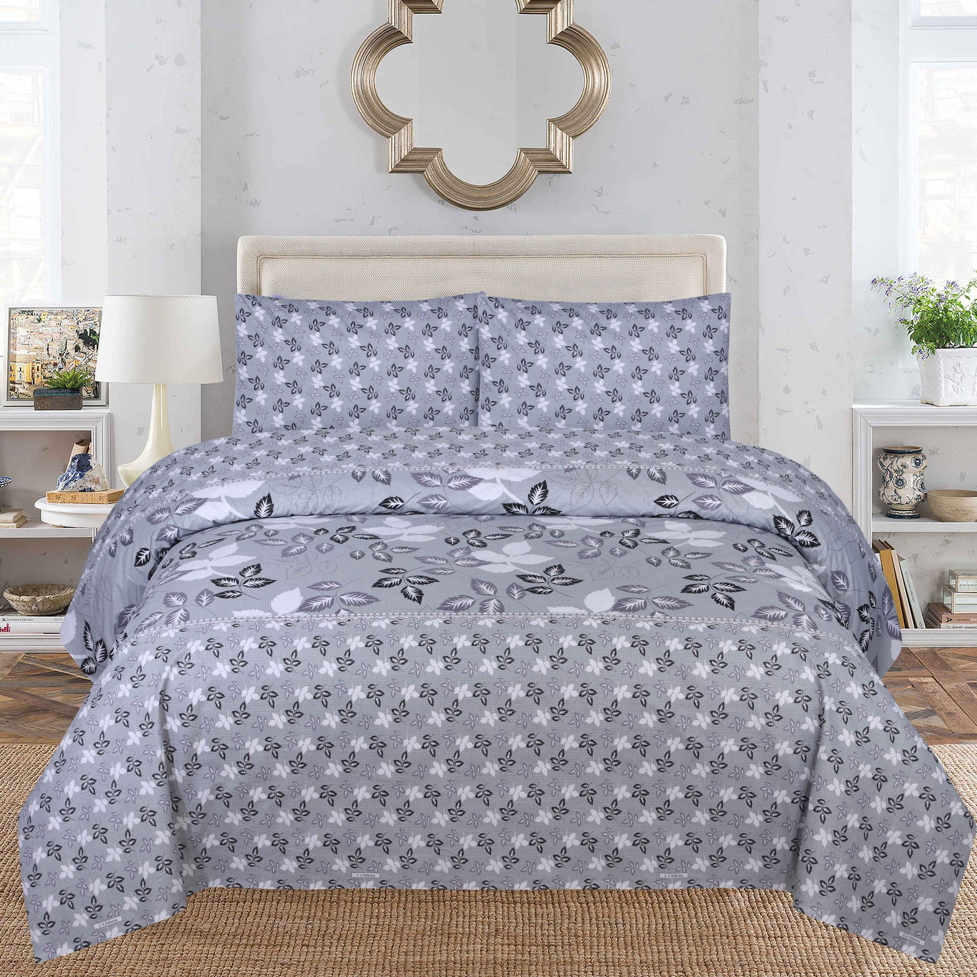 Grace D154- Cotton PC King Size Bedsheet with 2 Pillow Covers.