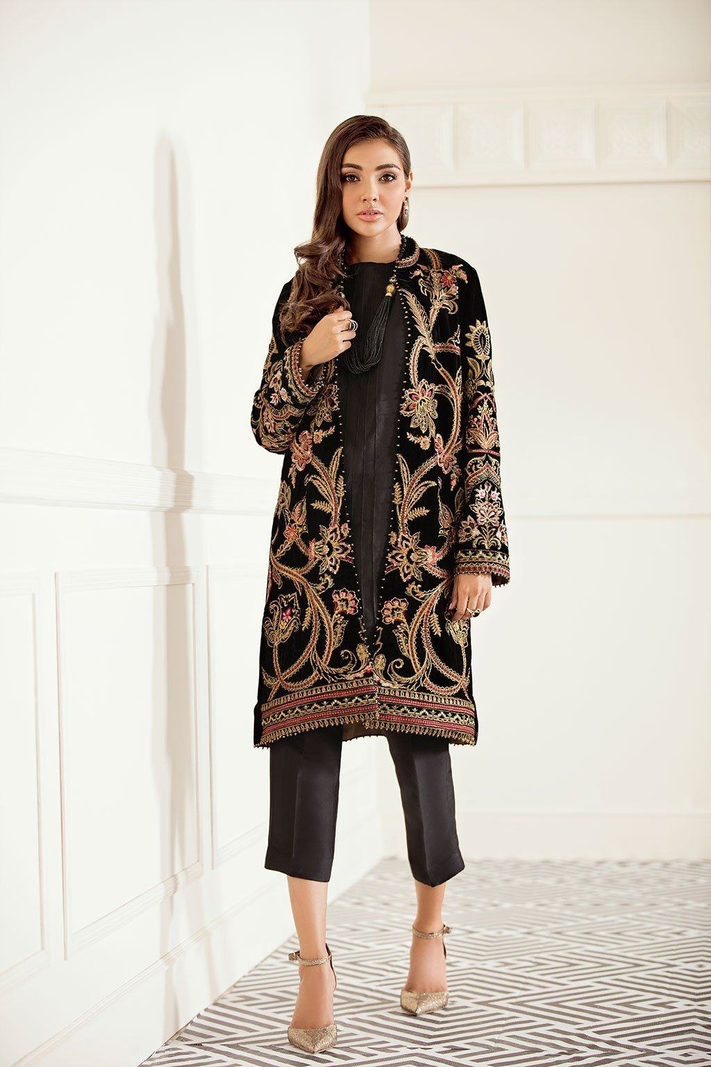 Sarinah D03-Embroided 2pc velvet dress with raw silk trouser.