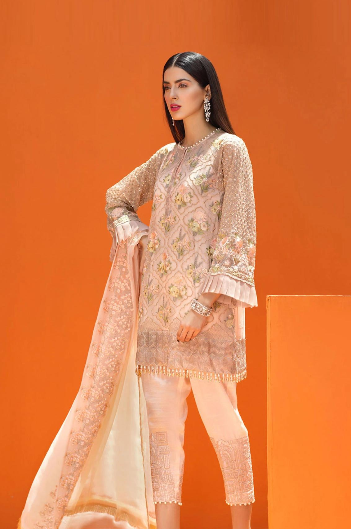 Coir 249-Heavy Embroided 3pc linen dress with embroided chiffon dupatta. - gracestore.pk