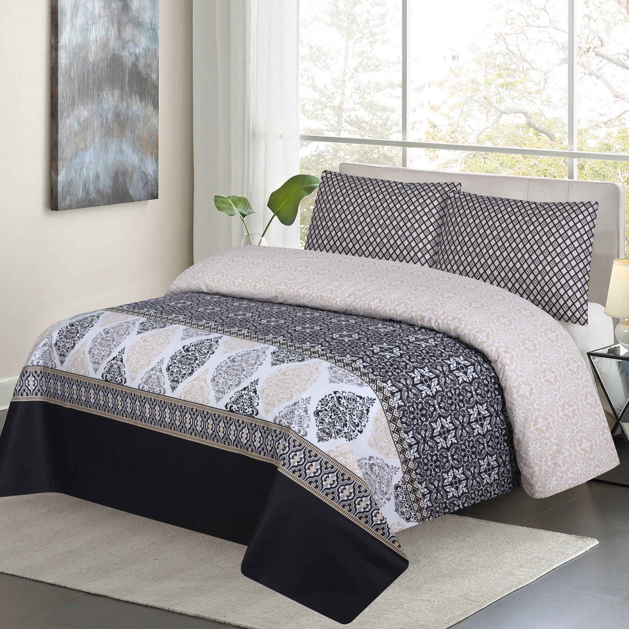 Grace D155 - Mix Cotton King Size Bedsheet with 2 Pillow Covers.