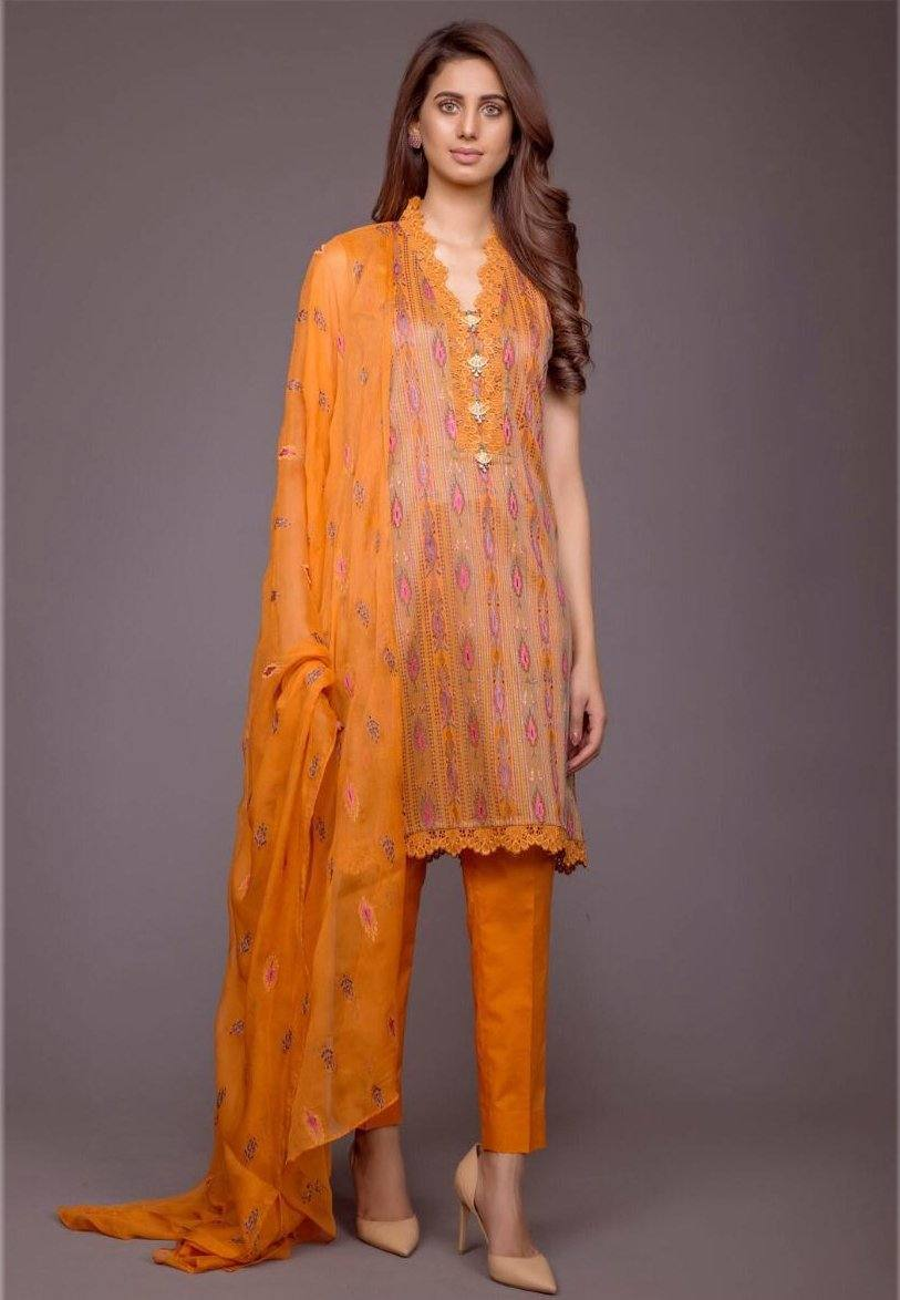 Bareeze Orange L-Embroided 3pc linen dress with embroided chiffon dupatta. - gracestore.pk