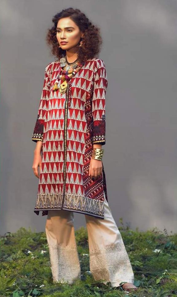 Khaadi k 26-Embroided 2pc lawn dress shirt & trouser. - gracestore.pk