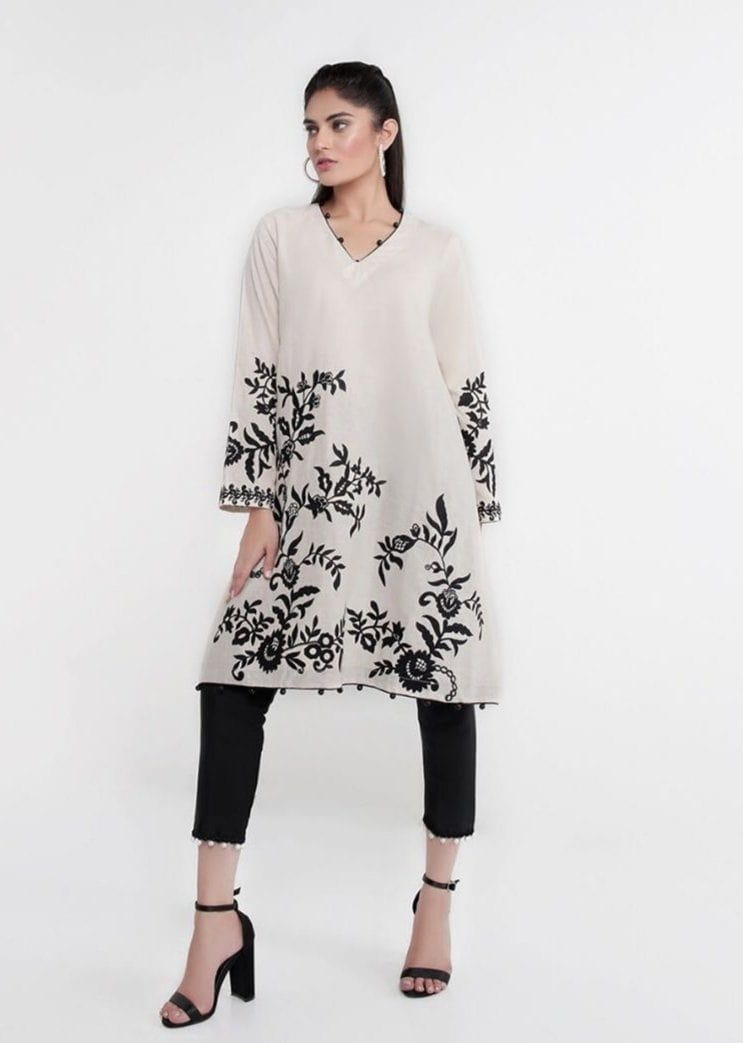 Sana safinaz white-Embroided 2pc khaddar dress shirt & trouser. - gracestore.pk