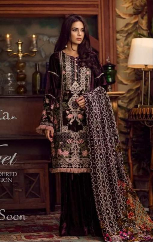 Shaista 18042-Embroided 3pc linen dress with printed wool shawl. - gracestore.pk