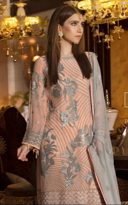Maryum N Maria 244-Heavy Embroided 3pc linen dress with embroided chiffon dupatta. - gracestore.pk