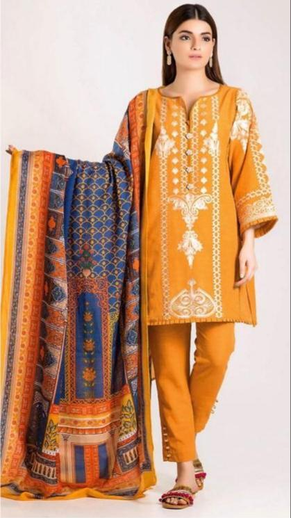 Khaadi 18497-Embroidered 3pc Linen dress with printed wool shawl. - gracestore.pk