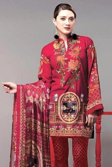 Ethnic 18087-Embroidered 3pc khaddar dress with printed wool shawl. - gracestore.pk