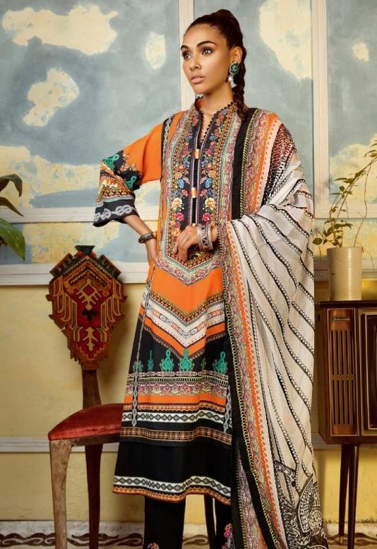 Ethnic 92115-Embroided 3pc lawn dress with printed chiffon dupatta. - gracestore.pk