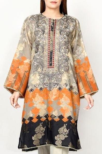 Limelight 18380-Embroided 3pc dhanak dress with printed dhanak shawl.