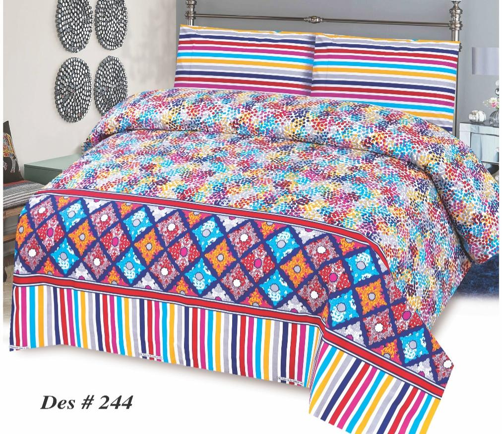 Alkarim Design 244-Cotton pc king size Bedsheet with 2 pillow covers. - gracestore.pk