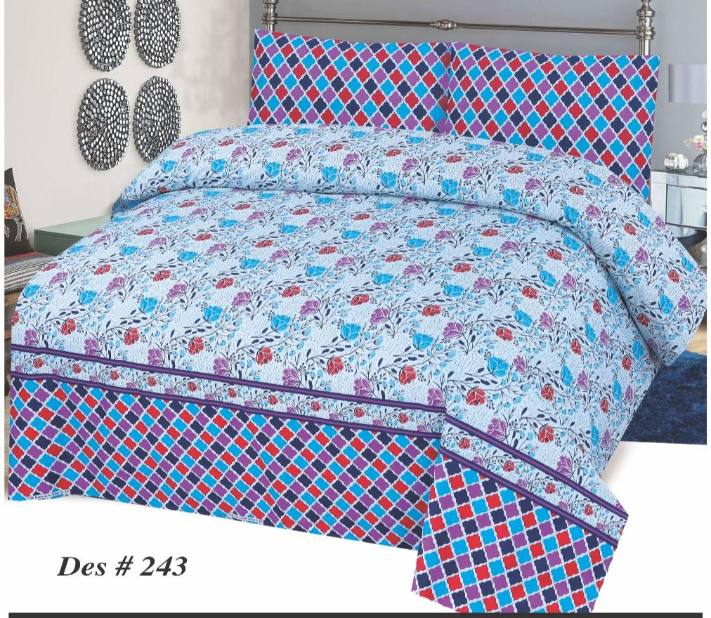 Alkarim Design 243-Cotton pc king size Bedsheet with 2 pillow covers. - gracestore.pk