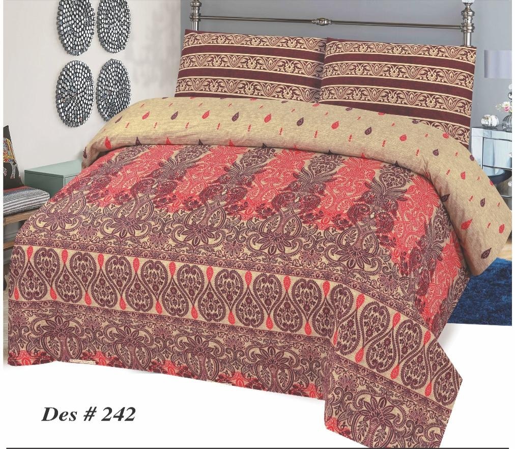 Alkarim Design 242-Cotton pc king size Bedsheet with 2 pillow covers. - gracestore.pk
