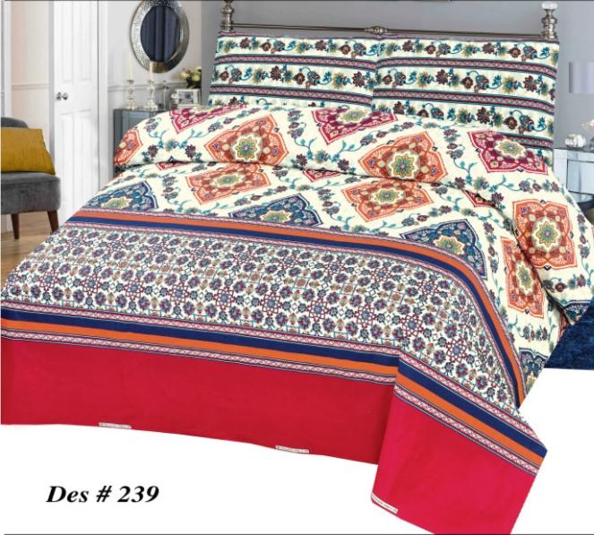 Alkarim Design 239-Cotton pc king size Bedsheet with 2 pillow covers. - gracestore.pk
