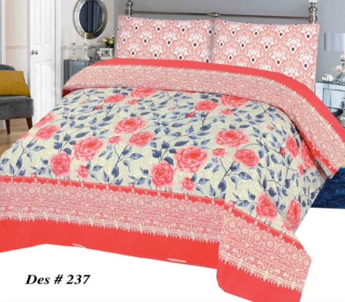 Alkarim Design 237-Cotton pc king size Bedsheet with 2 pillow covers. - gracestore.pk