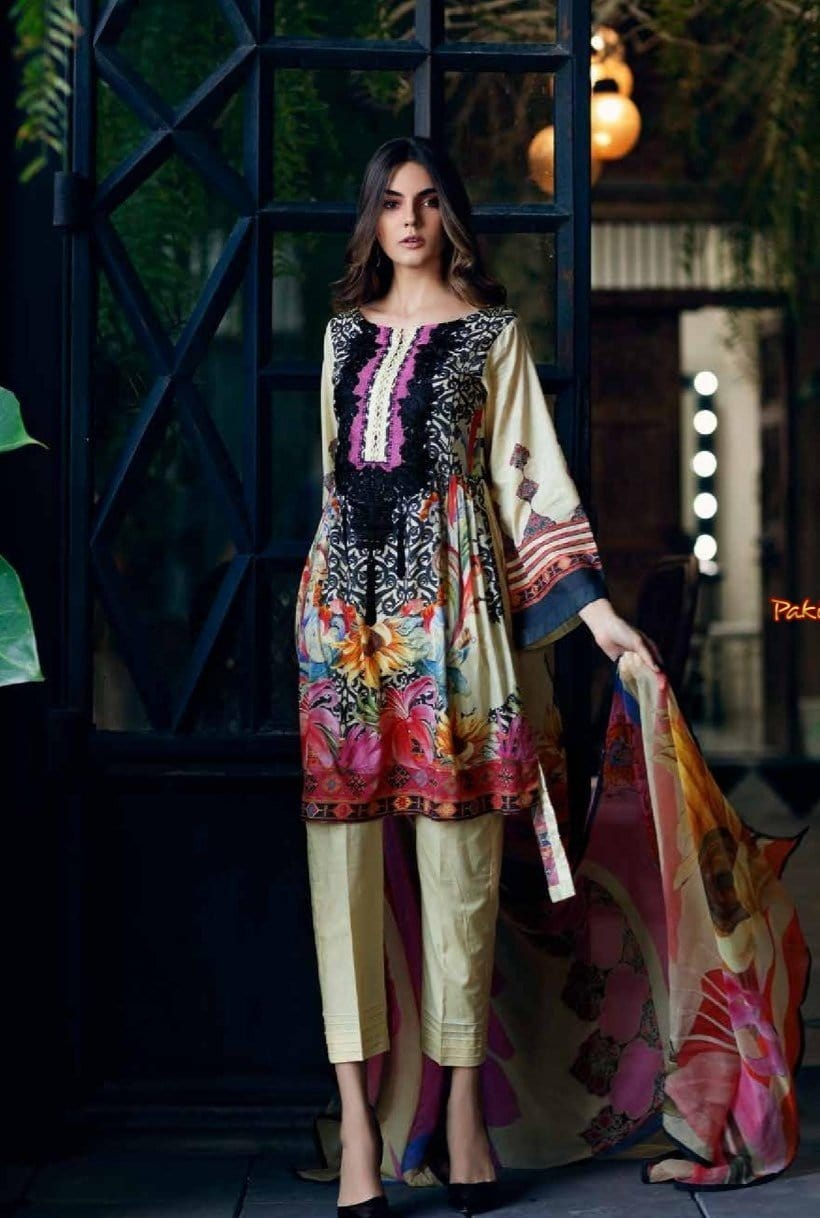 Charizma 1866-Embroided 3pc linen dress with printed wool shawl.