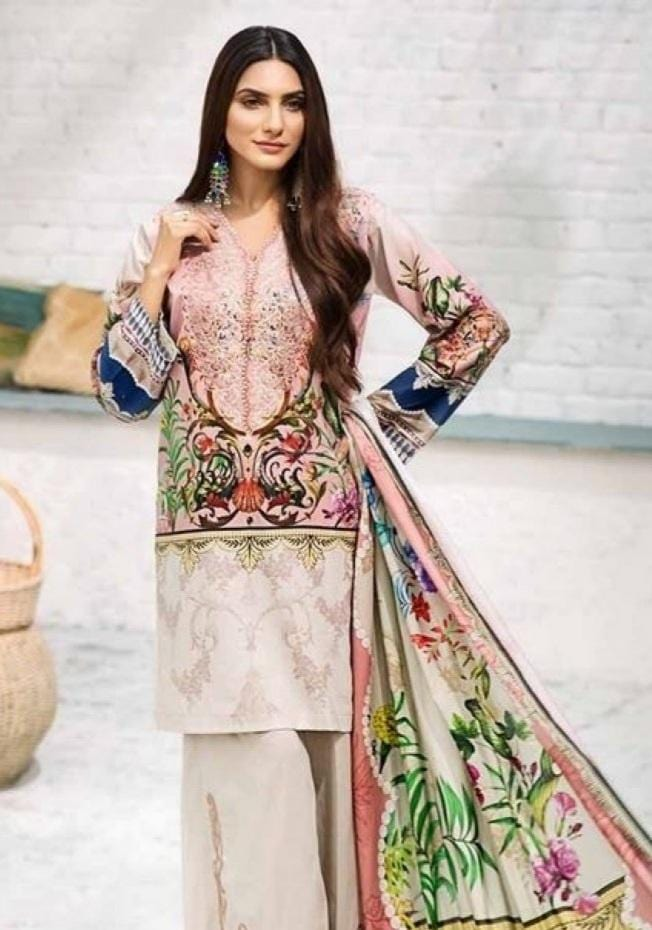 Gul Ahmad 18303-Embroided 3pc linen dress with printed wool shawl.