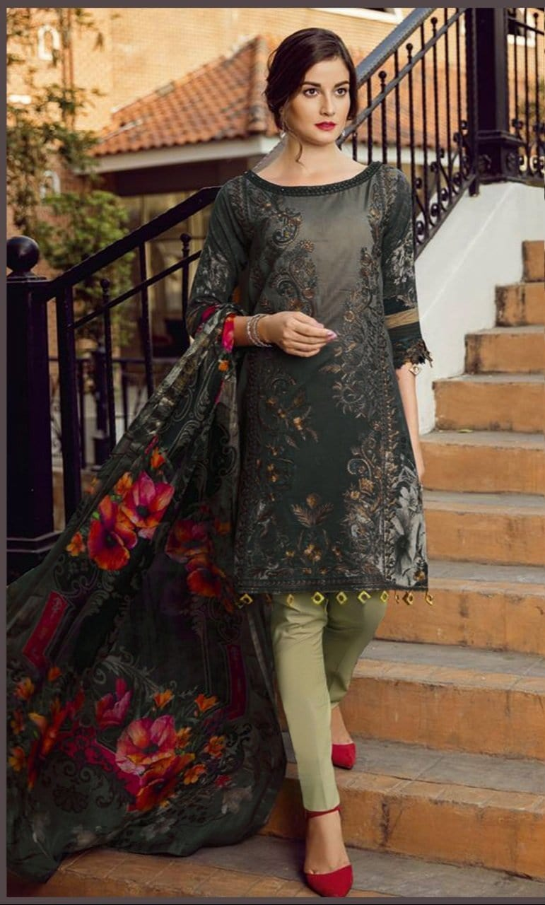 Iznik 18242-Embroided 3pc linen dress with printed wool shawl.