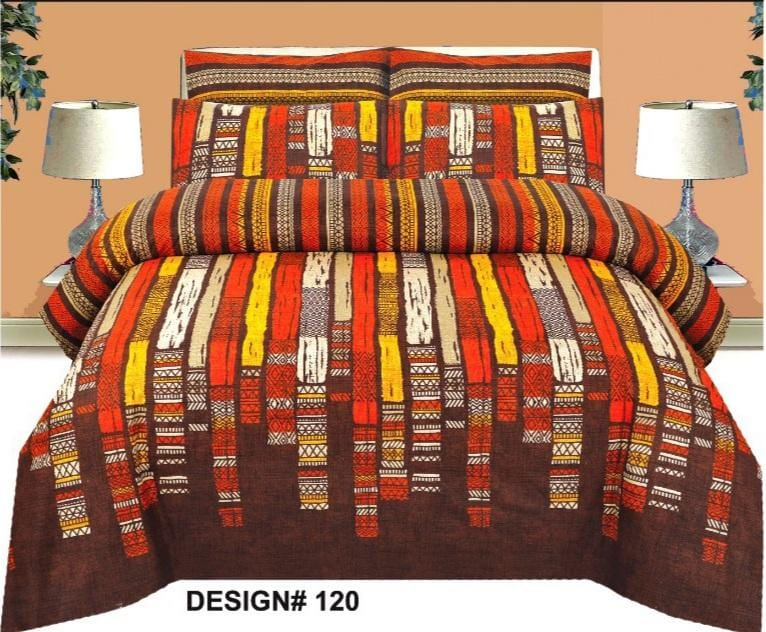 Grace d120-Cotton PC King Size Bedsheet with 2 Pillow Covers.