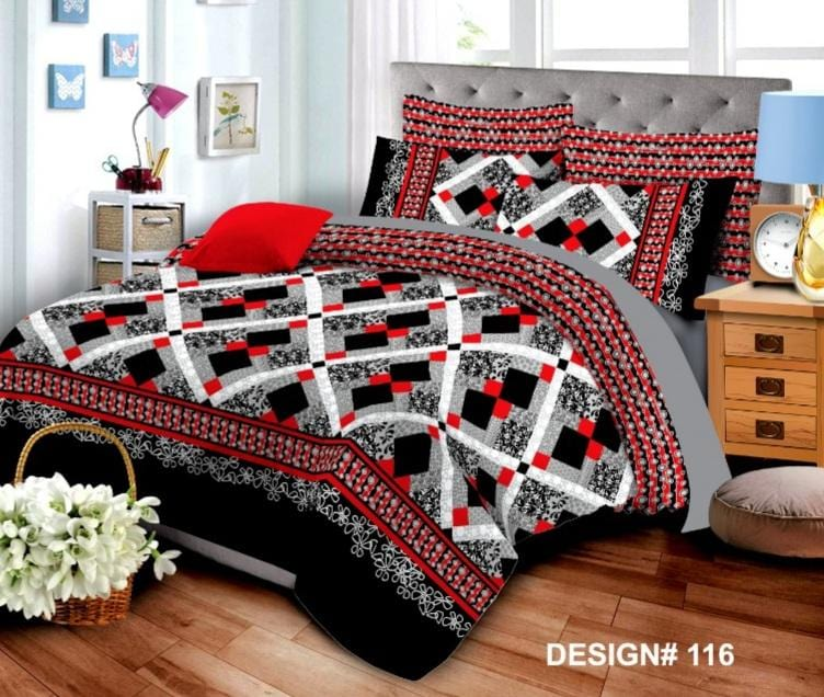 Grace d116-Cotton PC King Size Bedsheet with 2 Pillow Covers.