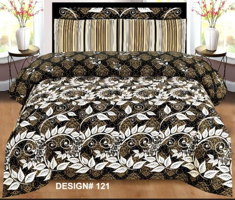Grace d121-Cotton PC King Size Bedsheet with 2 Pillow Covers.
