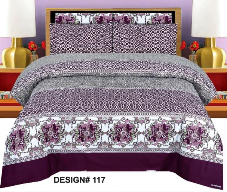 Grace d117-Cotton PC King Size Bedsheet with 2 Pillow Covers.