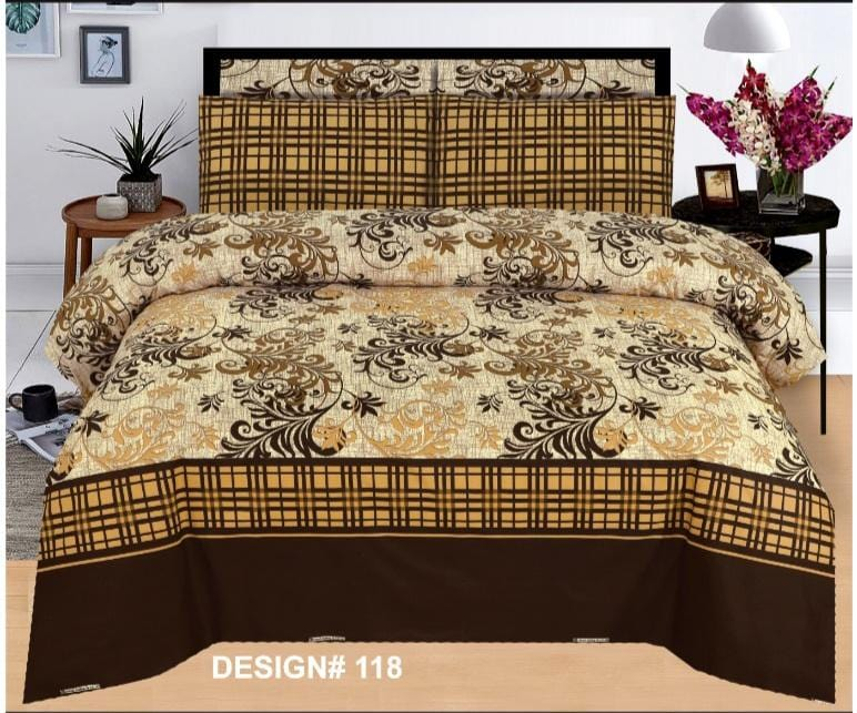 Grace d118-Cotton PC King Size Bedsheet with 2 Pillow Covers.