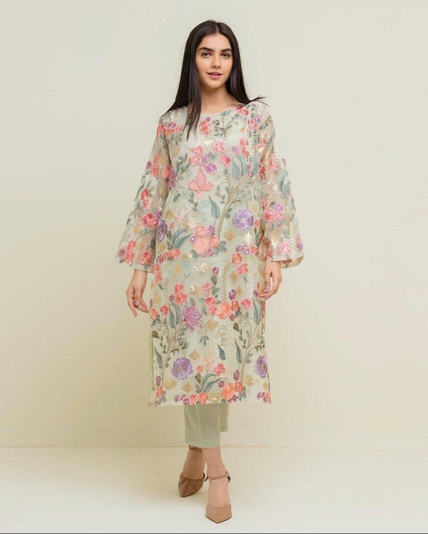 Grace 21-Embroided Net 2pc linen dress shirt & trouser.