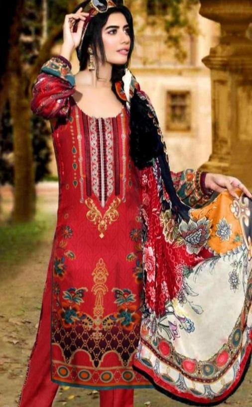 Motifz 18280-Embroided 3pc linen dress with printed wool shawl.