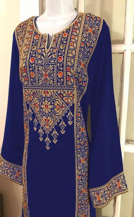 Junaid Jamshed Blue-Embroided 2pc linen dress shirt & trouser.