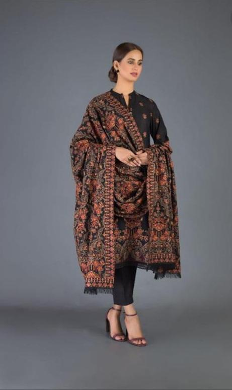 Sarinnah Premium D26-Luxury Formal Heavy Embroidered Karandi Lawn Shawl.