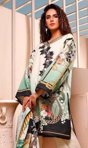 Firdous 18403-Embroided 3pc linen dress with printed wool shawl.