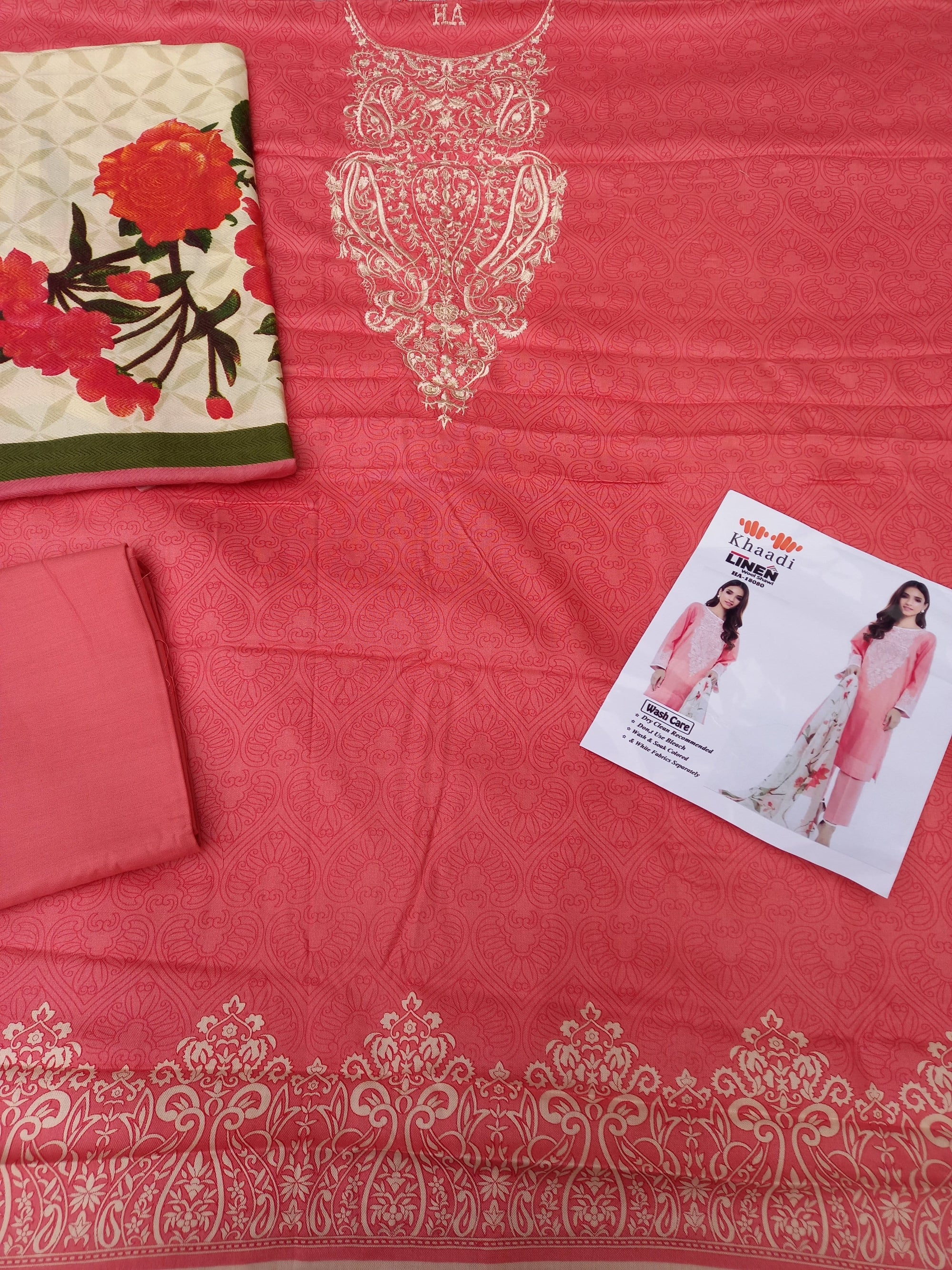 Khaadi 18080-Embroided 3pc linen dress with printed shawl.