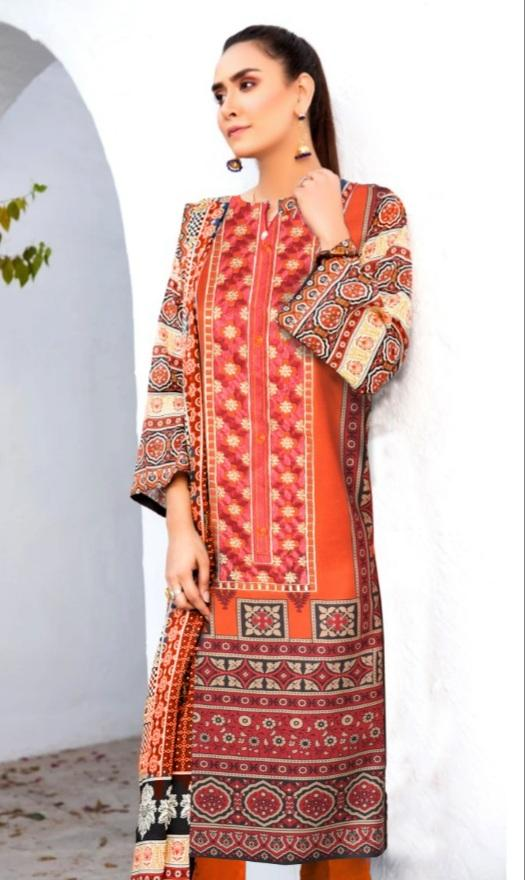 Ittehad 18531-Embroided 3pc marina dress with printed wool shawl.